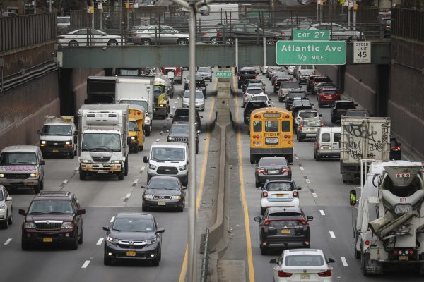 Heavy traffic moves along the Brooklyn-Queens Expressway in Brooklyn, New York