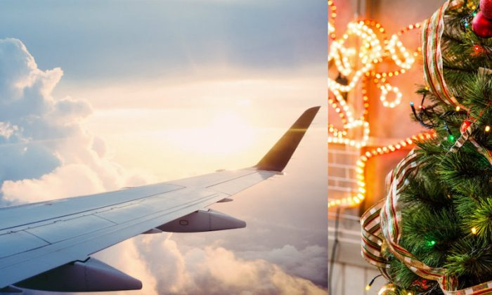 L: Airplane wings. (Ross Parmly/Unsplash) R: Christmas tree. (Toni Cuenca/Unsplash). A father booked himself on six flights so that he could spend time with his flight attendant daughter over Christmas in 2018.