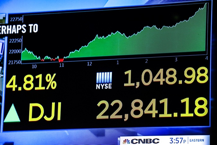 Dow Jones Industrial Average after the close of trading on the floor of the New York Stock Exchange (NYSE)