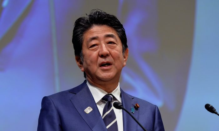 Japanese Prime Minister Shinzo Abe addressses during the XXIII ANOC General Assembly in Tokyo, Japan, on Nov. 28, 2018. (Mark Runnacles/Getty Images)