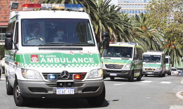 Ambulances in Australia in a file photo. (Tony Ashby/AFP/Getty Images)