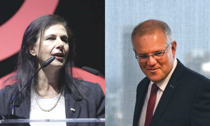 Concetta Fierravanti-Wells speaks at O2 Academy Brixton in London, England, on April 17, 2018. R: Scott Morrison arrives to speak at the Australian Institute in Sydney, Australia, on Dec. 15, 2018. (L: John Phillips/Getty Images for Global Citizen. R: Mick Tsikas-Pool/Getty Images)