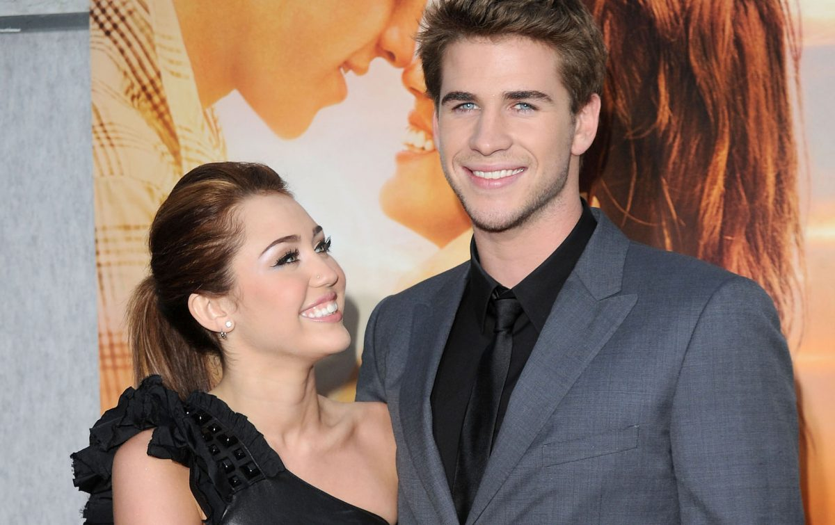 "Miley Cyrus and Liam Hemsworth at ""The Last Song"" premiere."