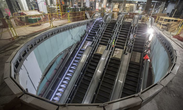 One of four escalators that will carry passengers from the concourse level to the mezzanine and train platforms of the East Side Access project beneath Grand Central Terminal in New York, on Nov. 29, 2018. (Mary Altaffer/AP)