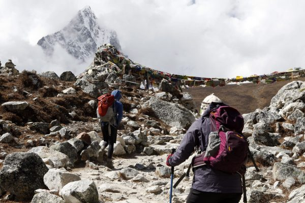trekkers are making their way to the camp