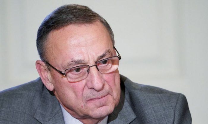 Maine Governor Paul LePage takes part in a meeting on infrastructure with state and local officials in the State Dining Room of the White House in Washington on Feb. 12, 2018. (Mandel Ngan/AFP/Getty Images)
