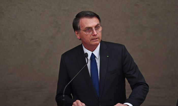 Brazilian President-elect Jair Bolsonaro delivers a speech at an event in Brasilia on Dec. 10, 2018. (Evaristo Sa/AFP/Getty Images)