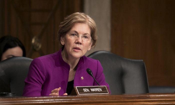 Sen. Elizabeth Warren (D-Mass.) in Washington on Feb. 8, 2018. (Samira Bouaou/The Epoch Times)