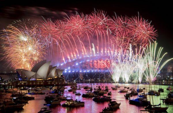 Fireworks explode over the Sydney Harbour in Sydney, Australia. (Brendan Esposito/AAP via AP)