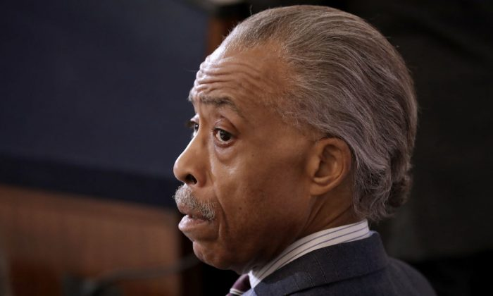 Al Sharpton attends his National Action Network's post-midterm election meeting in the Kennedy Caucus Room at the Russell Senate Office Building on Capitol Hill November 13, 2018, in Washington. (hip Somodevilla/Getty Images)