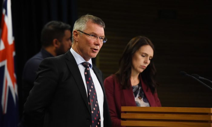 Hon David Parker speaks at a press conference with Prime Minister Jacinda Adern on Aug. 6, 2018 in Wellington, New Zealand.(Mark Tantrum/Getty Images)