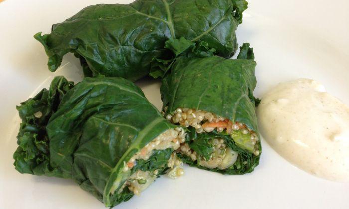 Kale and quinoa dolmades. (Maria Benardis)
