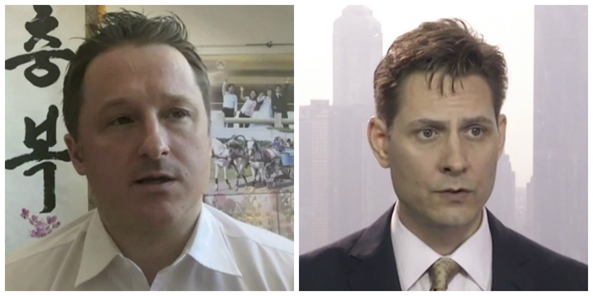 Canadians Michael Spavor (L) and Michael Kovric are currently detained in China. (AP Photo)