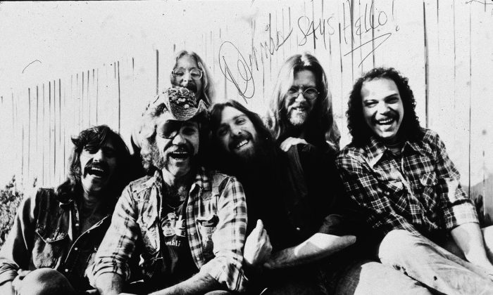 Promotional portrait of the rock group Dr. Hook: (L-R) Bill Francis, Ray Sawyer, Rik Elswit, Dennis Locorriere, Jance Garfat, and John Walters, 1979. The picture is autographed by Locorriere and reads 'Dennis Says Hello!' (Platt Collecton/Hulton Archive/Getty Images)