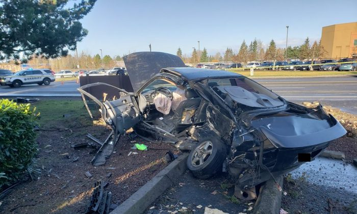 The wreckage of a Honda when first responders freed a woman trapped after her ex-boyfriend T-boned her car at 50 mph in Parkland, Pierce County, Washington, on Dec. 30, 2018. (Pierce County Sheriff)