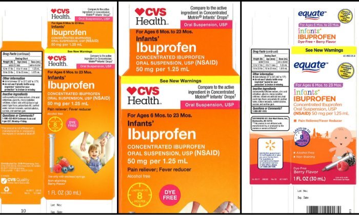(L - C) CVS Health: Infants' Ibuprofen Concentrated Oral Suspension, USP, 50 mg per 1.25 mL, in 1.0 oz. bottle.