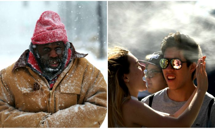A homeless man (L) walks through the snowy streets of Boston, United States, on Jan. 4, 2018. (Spencer Platt/Getty Images) and a spectator (R) cools off at the Australian Open tennis competition in Melbourne, Australia, on Jan. 16, 2018. (William West/AFP/Getty Images)