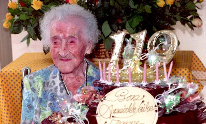 Jeanne Calment, the world's oldest woman according to the Guinness Book of Records celebrates her 119 birthday in France, Feb. 21, 1994. (Eric Cabanis/AFP/Getty Images)