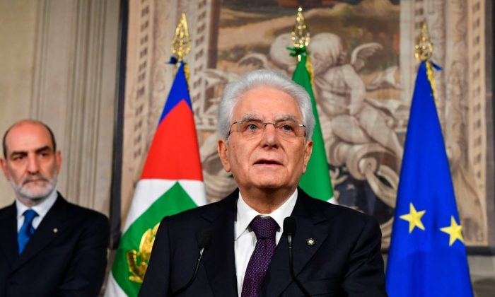 Italy's President Sergio Mattarella addresses journalists after a meeting with Italy's prime ministerial candidate Giuseppe Conte on May 27, 2018 at the Quirinale presidential palace in Rome. (Vincenzo Pinto/AFP/Getty Images)