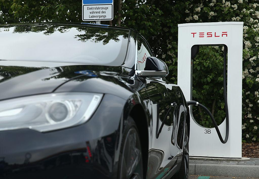 Tesla electric-powered sedan charging