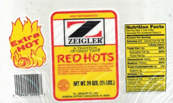 11,664 pounds of ready-to-eat chicken and pork sausage products produced by R. L. Zeigler Co. were recalled on Dec. 30, 2018. (USDA)