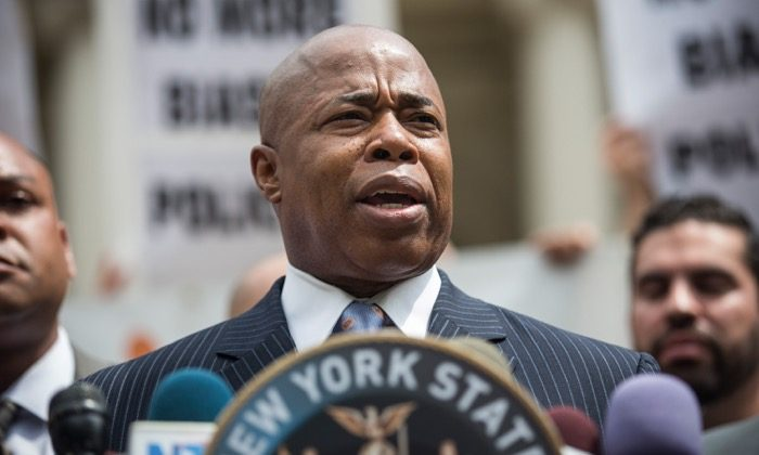 Brooklyn Borough President Eric Adams speaks on the steps of New York City Hall on July 9, 2014. (Andrew Burton/Getty Images)