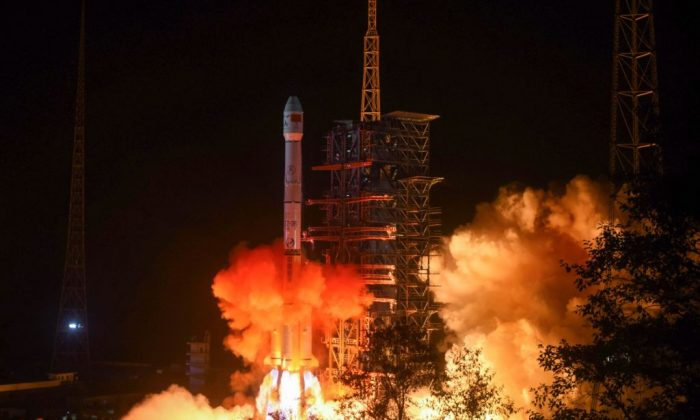 A Long March 3B rocket lifts off from the Xichang launch center in Xichang in China's southwestern Sichuan Province early on Dec. 8, 2018. (STR/AFP/Getty Images)