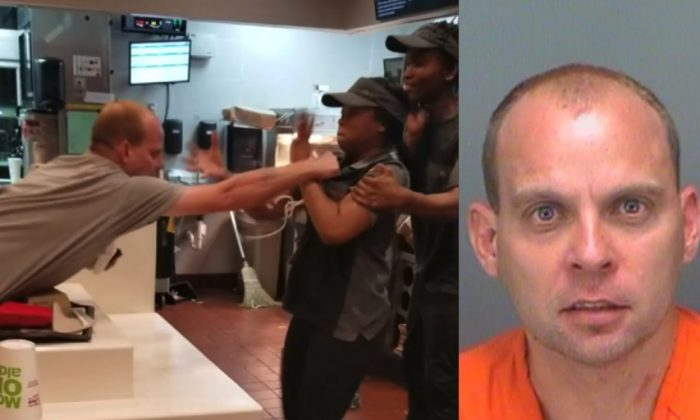 (L) An aggressive McDonald's customer is engaged in a violent altercation with a female employee in St. Petersburg, Fla. on Dec. 31, 2018. (R) Police booking photo of Daniel Taylor, who faces two counts of battery in connection with the incident.