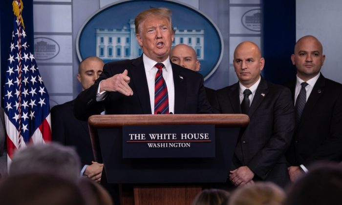 President Donald Trump addresses the press in the White House briefing room in Washington on Jan. 3, 2019. (NICHOLAS KAMM/AFP/Getty Images)