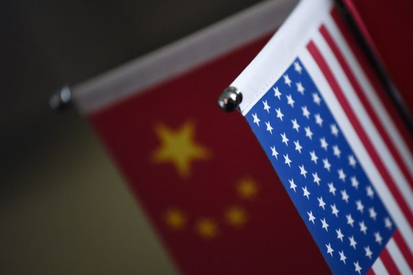 Chinese flags and American flags