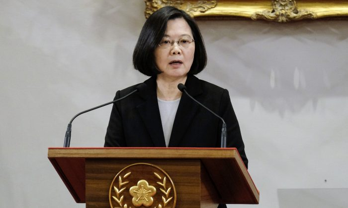 Taiwan's President Tsai Ing-wen speaks during a press conference where she responded to a speech by China's leader Xi Jinping on Taiwan relations, at the Presidential Palace in Taipei on January 2, 2019. (SAM YEH/AFP/Getty Images)