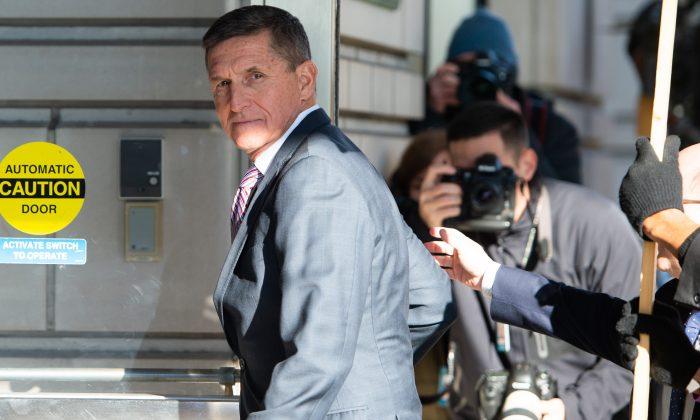 Former national security adviser Lt. Gen. Michael Flynn arrives for his sentencing hearing at US District Court in Washington on Dec. 18, 2018.    SAUL LOEB/AFP/Getty Images