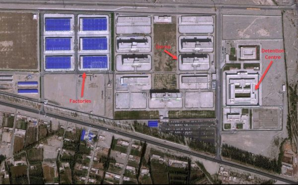 Satellite image of detention facility in Xinjiang