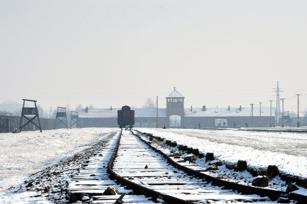 train tracks at Auschwitz