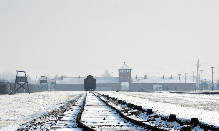 View of the railway tracks at the former Nazi concentration camp Auschwitz-Birkenau in Oswiecim, Poland, on Holocaust Day, January 27, 2014. (Janek Skarzynski/AFP/Getty Images)