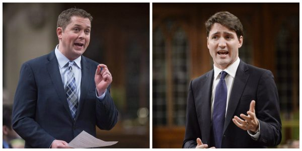 Leader of the Opposition Andrew Scheer (L) and Prime Minister Justin Trudeau. (The Canadian Press/Adrian Wyld)
