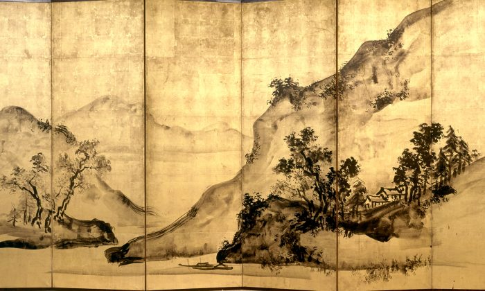 """Mountains and Water,"" 1828, Edo period (1615–1868), by Tani Buncho 谷文晁.  Two six-fold screens, ink and gold-leaf on paper, each screen is 68 1/2 inches by 138 11/16 inches. (Princeton University Art Museum)"