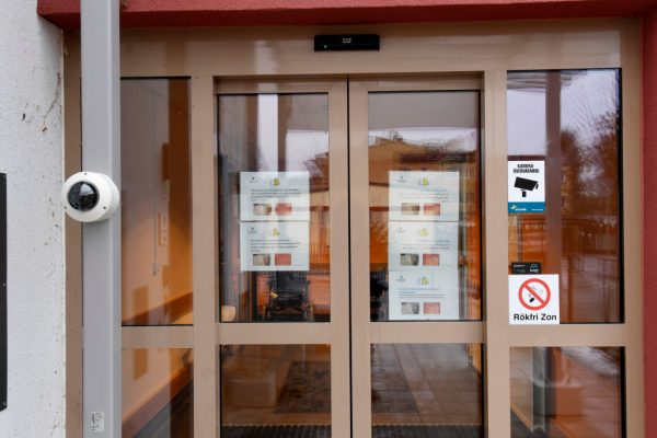 door of hospital in Sweden
