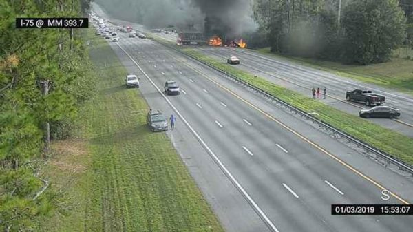 Image taken from a Florida 511 traffic camera shows a fiery crash