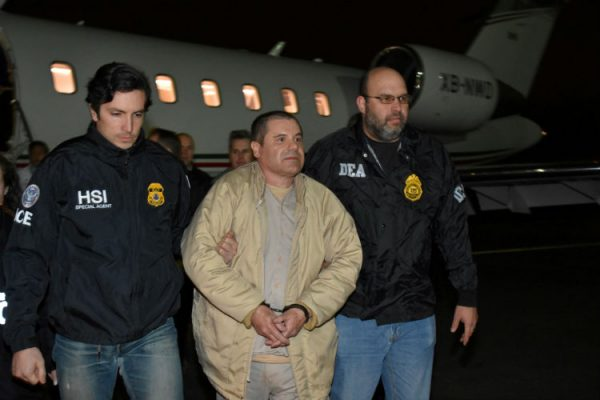 El Chapo being led by authorities