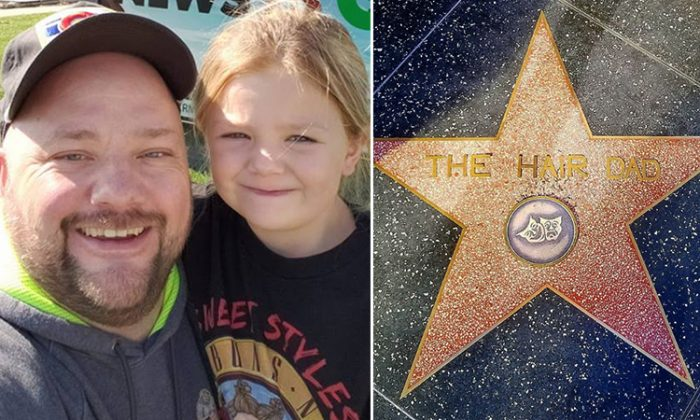 On the left, Greg Wickherst with his daughter Izzy. On the right, his name on the Hollywood Walk of Fame. (L: Facebook | Greg Wickherst, R: Instagram | thehairdad)