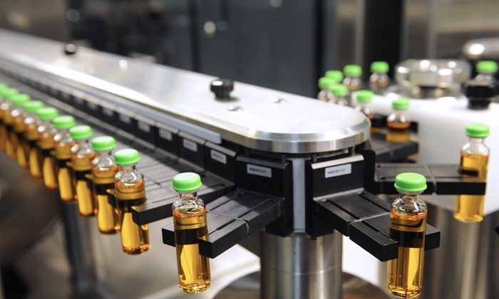 A high speed production line of insulin is pictured at the factory of Novo Nordisk, a global healthcare company, in Chartres, France on Feb. 17, 2014. (Jean-Francois Monier/AFP/Getty Images)