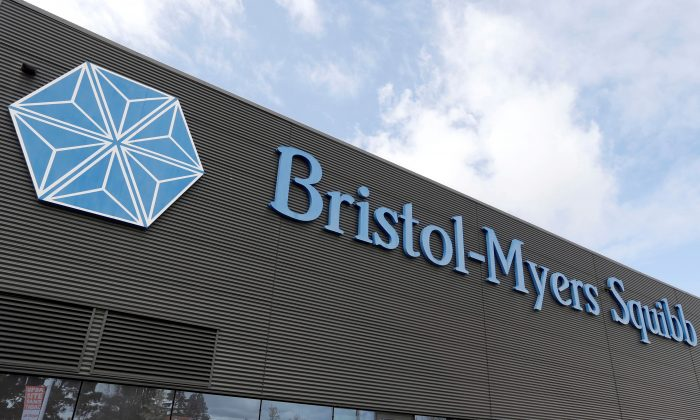 Logo of global biopharmaceutical company Bristol-Myers Squibb is pictured at building in Le Passage, near Agen, France March 29, 2018. (Regis Duvignau/Reuters)