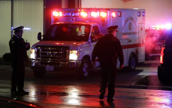 Ambulance and police officers in Chicago.