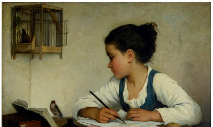 """""""A Girl Writing; The Pet Goldfinch"""" by Henriette Browne. (Public Domain)"""