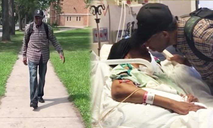 On the left, Luther Younger making his daily 6-mile walk to visit his wife, Waverlee, in the hospital. (YouTube Screenshot | CBS News)