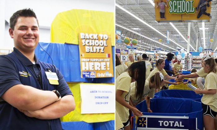 On the left, Kristopher Hudson in his work uniform, and on the right, a school supply drive he promotes to help the less fortunate. (Facebook   Kristopher Hudson)