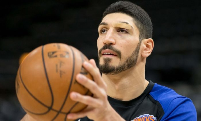 New York Knicks center Enes Kanter warms up prior to the game against the Utah Jazz at Vivint Smart Home Arena on Dec. 29, 2018. (Russ Isabella-USA TODAY Sports/Reuters)