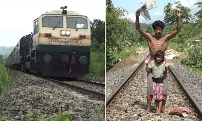 L: The training traveling to disaster. R: Swapan Debbarma and his daughter Somati warning the train about danger. (YouTube)