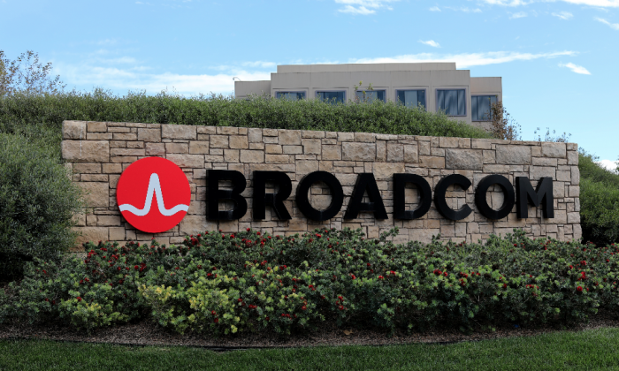 A sign to the campus offices of chip maker Broadcom Ltd is shown in Irvine, California, U.S., November 6, 2017. (Mike Blake/Reuters)